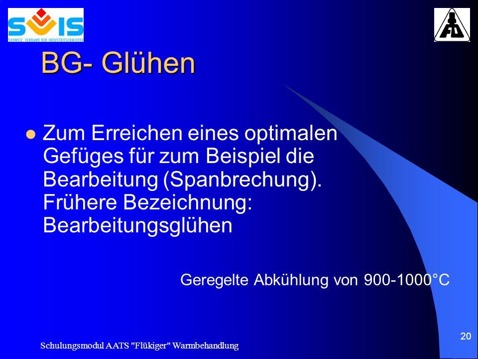 BG- Glühen Zum Erreichen eines optimalen Gefüges für zum Beispiel die Bearbeitung (Spanbrechung). Frühere Bezeichnung: Bearbeitungsglühen.