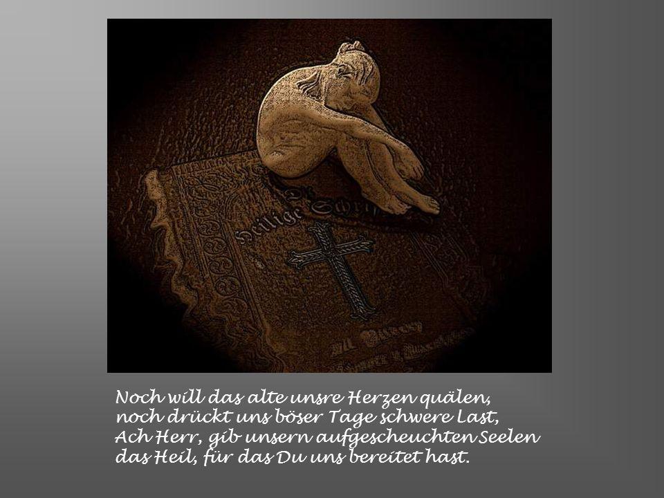 Noch will das alte unsre Herzen quälen, noch drückt uns böser Tage schwere Last, Ach Herr, gib unsern aufgescheuchten Seelen das Heil, für das Du uns bereitet hast.