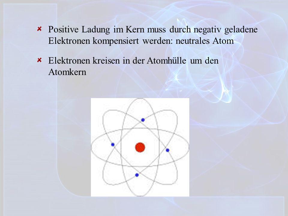 Positive Ladung im Kern muss durch negativ geladene Elektronen kompensiert werden: neutrales Atom