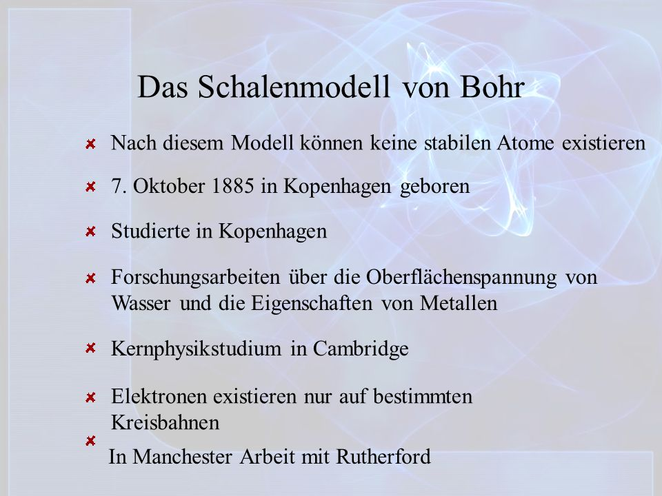 Das Schalenmodell von Bohr