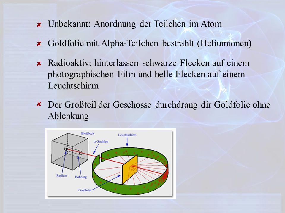Unbekannt: Anordnung der Teilchen im Atom
