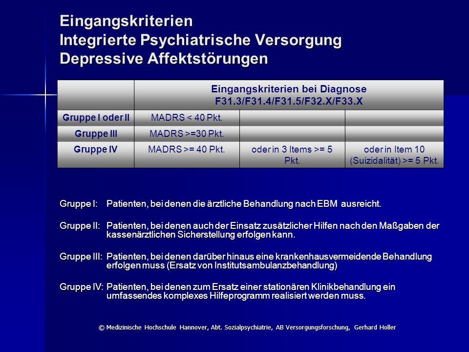 Eingangskriterien bei Diagnose F31.3/F31.4/F31.5/F32.X/F33.X
