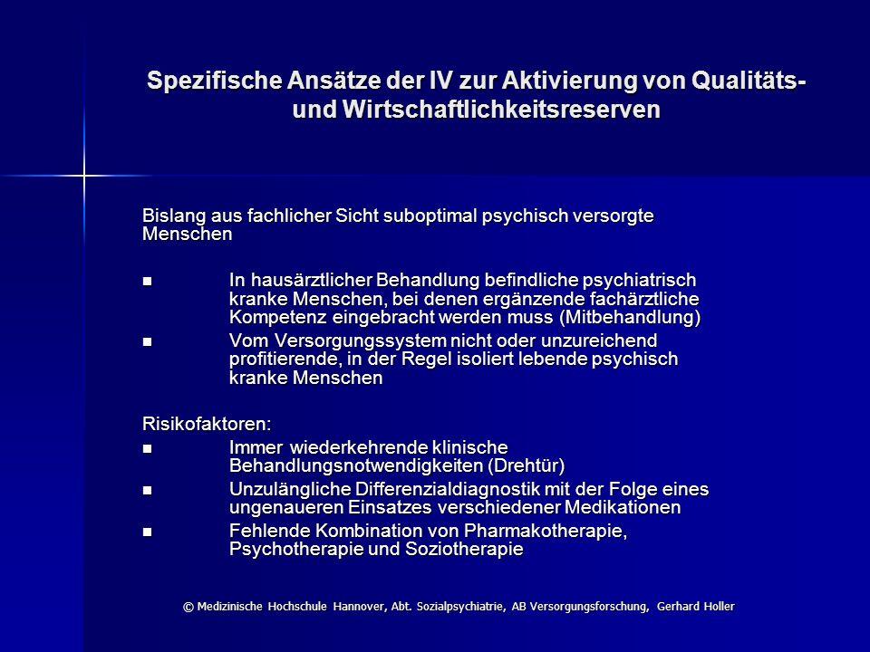 Spezifische Ansätze der IV zur Aktivierung von Qualitäts- und Wirtschaftlichkeitsreserven