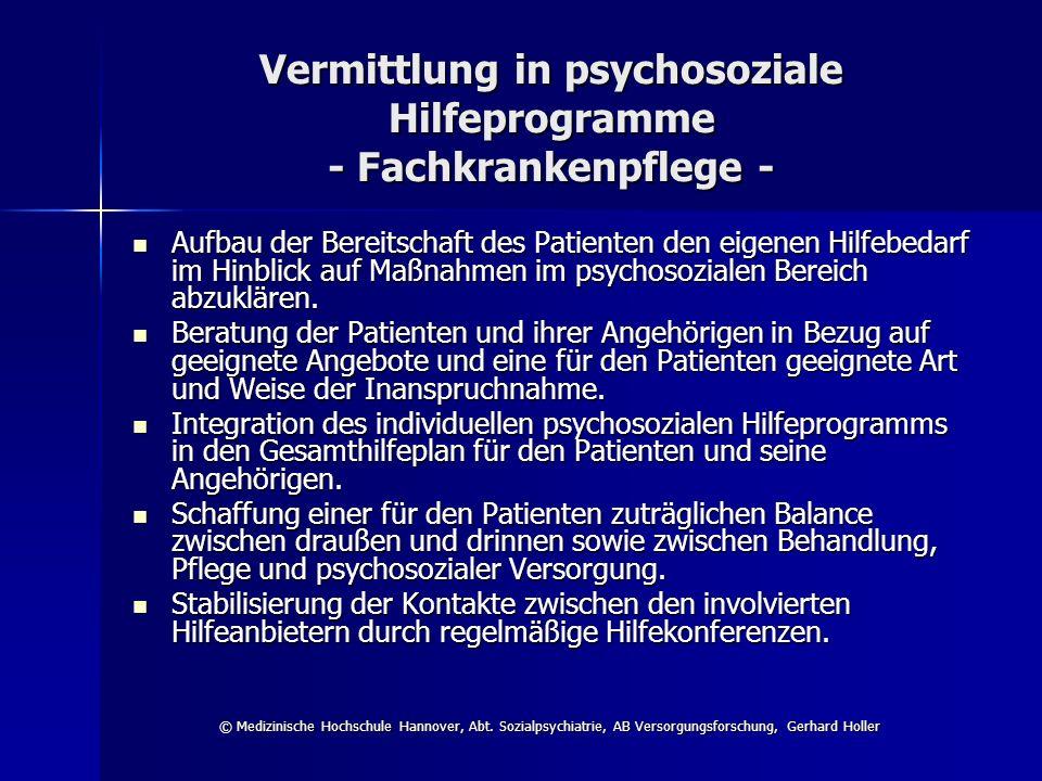 Vermittlung in psychosoziale Hilfeprogramme - Fachkrankenpflege -