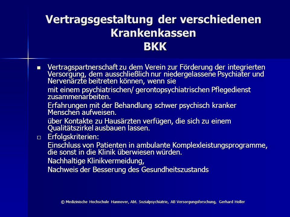 Vertragsgestaltung der verschiedenen Krankenkassen BKK