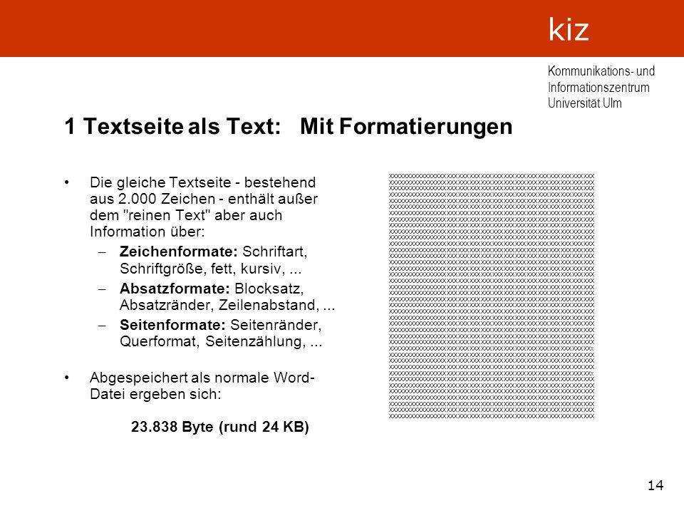 1 Textseite als Text: Mit Formatierungen