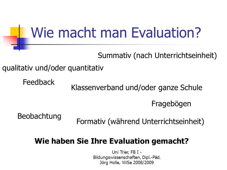 Wie macht man Evaluation