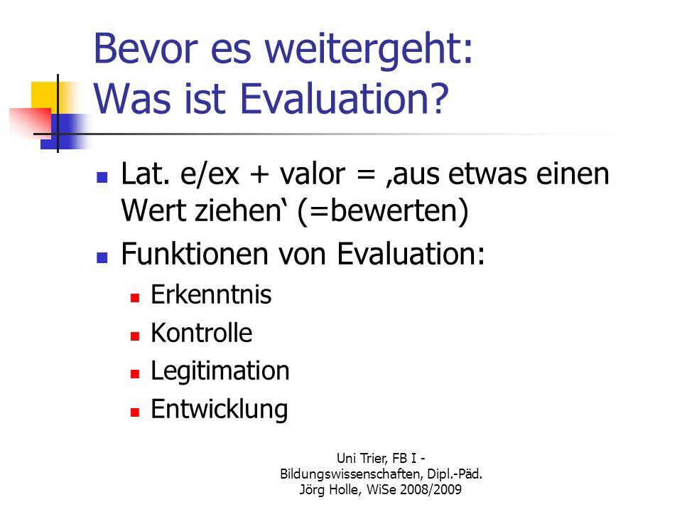 Bevor es weitergeht: Was ist Evaluation