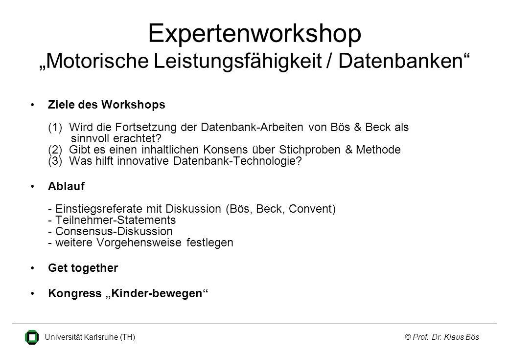 """Expertenworkshop """"Motorische Leistungsfähigkeit / Datenbanken"""