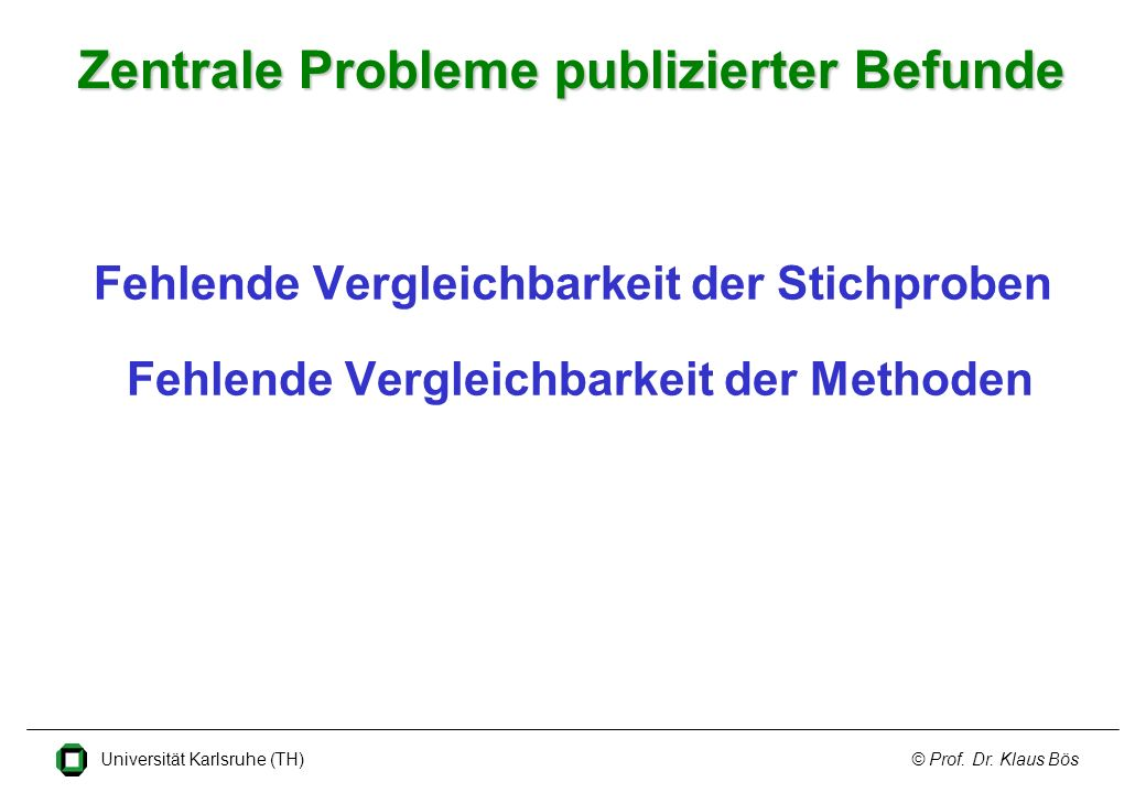 Zentrale Probleme publizierter Befunde