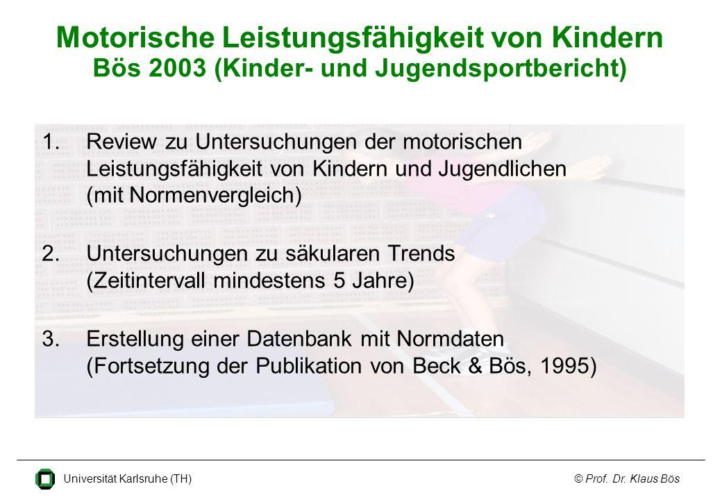 Motorische Leistungsfähigkeit von Kindern Bös 2003 (Kinder- und Jugendsportbericht)
