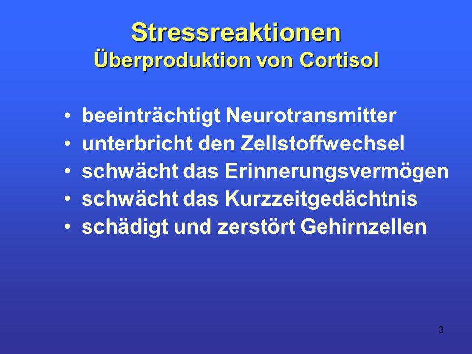 Stressreaktionen Überproduktion von Cortisol