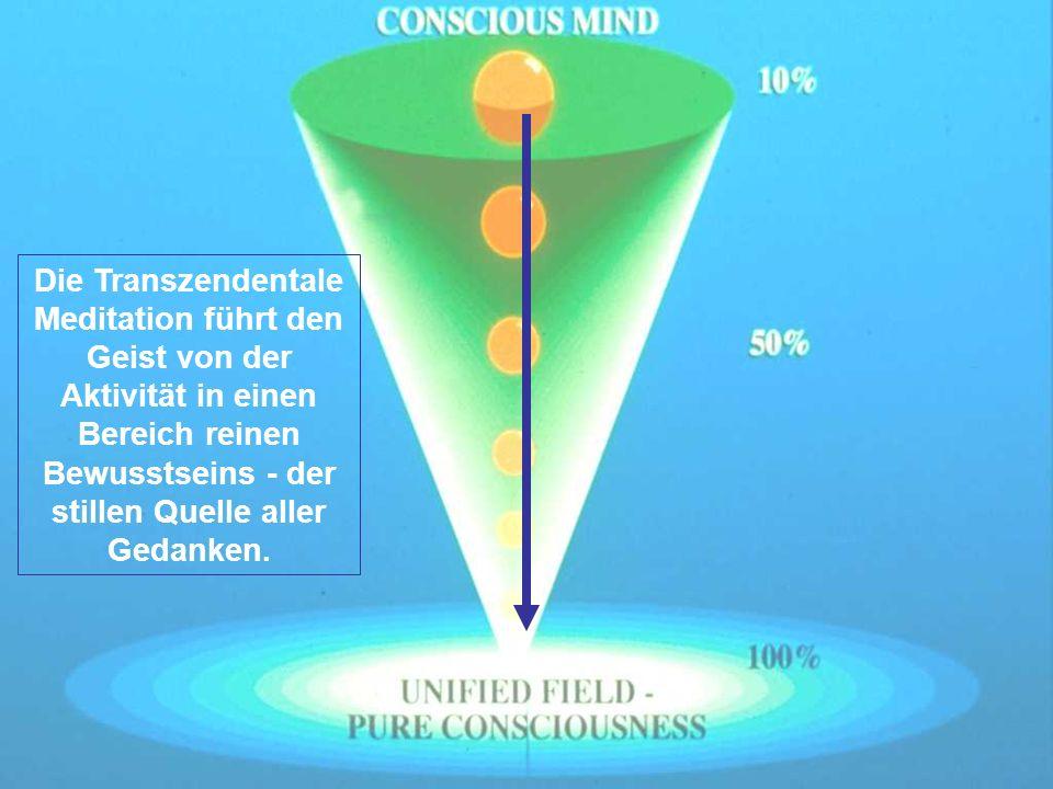 Die Transzendentale Meditation führt den Geist von der Aktivität in einen Bereich reinen Bewusstseins - der stillen Quelle aller Gedanken.