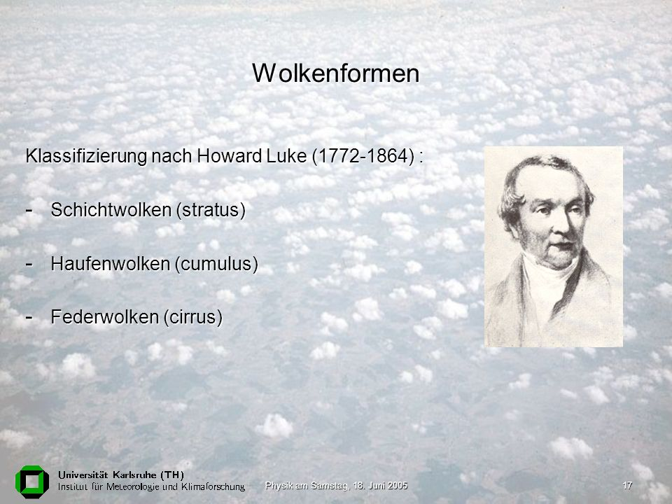 Wolkenformen Klassifizierung nach Howard Luke (1772-1864) :
