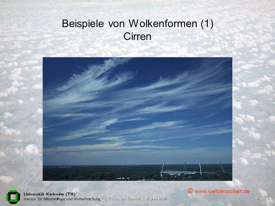 Beispiele von Wolkenformen (1) Cirren