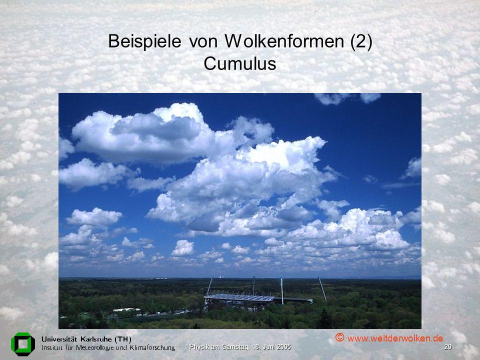 Beispiele von Wolkenformen (2) Cumulus