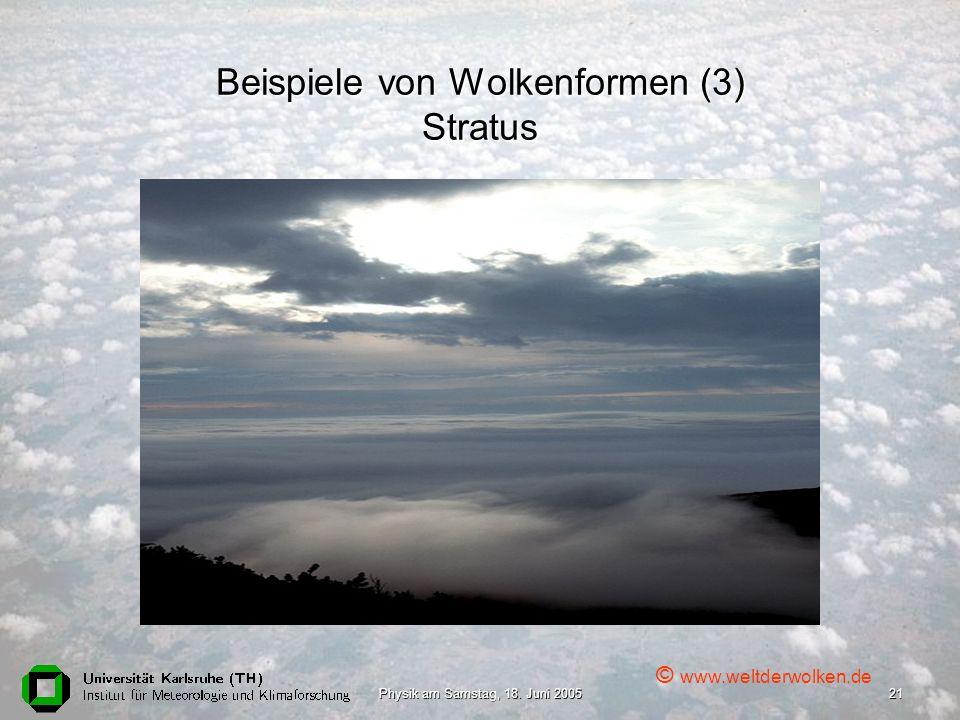 Beispiele von Wolkenformen (3) Stratus