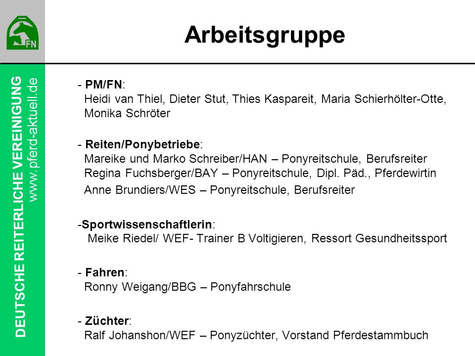 Arbeitsgruppe PM/FN: Heidi van Thiel, Dieter Stut, Thies Kaspareit, Maria Schierhölter-Otte, Monika Schröter.