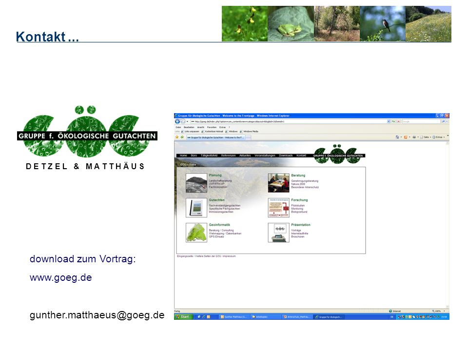Kontakt ... download zum Vortrag: www.goeg.de