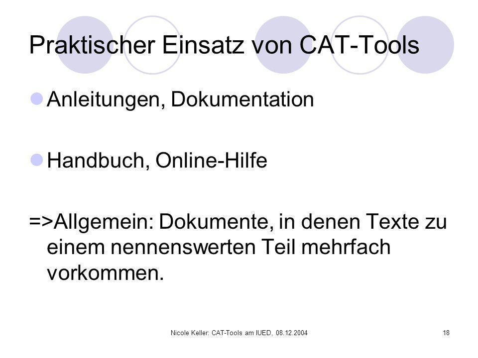 Praktischer Einsatz von CAT-Tools