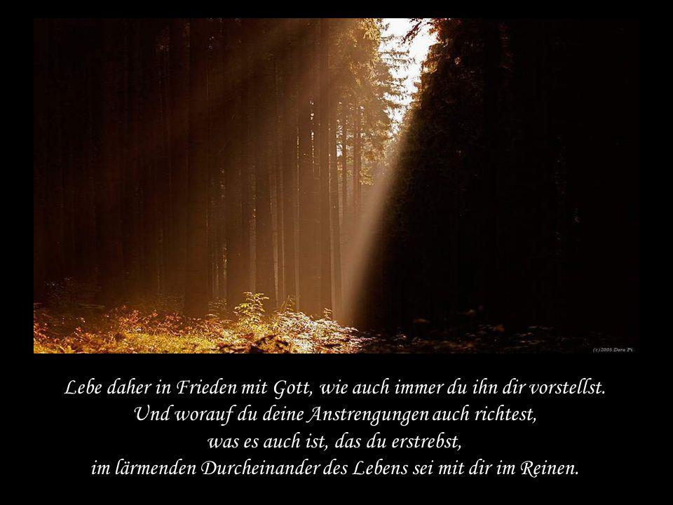 Lebe daher in Frieden mit Gott, wie auch immer du ihn dir vorstellst.