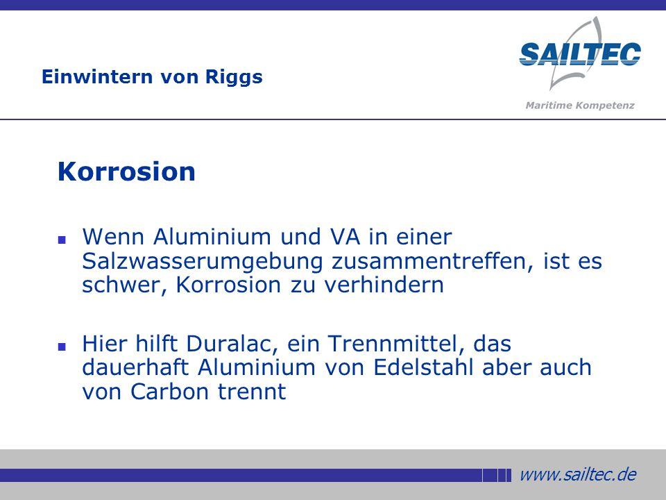 Einwintern von Riggs Korrosion. Wenn Aluminium und VA in einer Salzwasserumgebung zusammentreffen, ist es schwer, Korrosion zu verhindern.