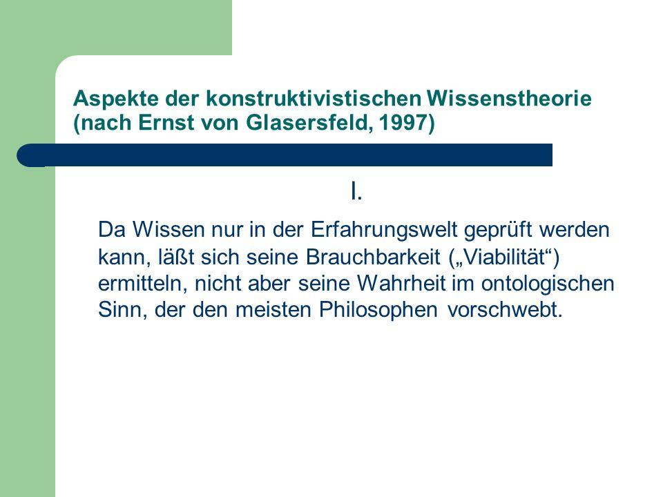 Aspekte der konstruktivistischen Wissenstheorie (nach Ernst von Glasersfeld, 1997)