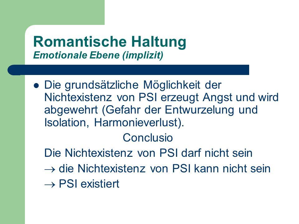 Romantische Haltung Emotionale Ebene (implizit)