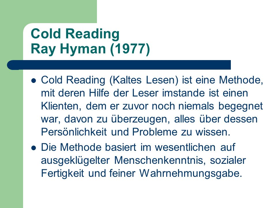 Cold Reading Ray Hyman (1977)