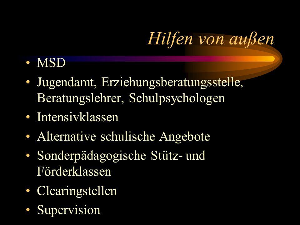 Hilfen von außen MSD. Jugendamt, Erziehungsberatungsstelle, Beratungslehrer, Schulpsychologen. Intensivklassen.