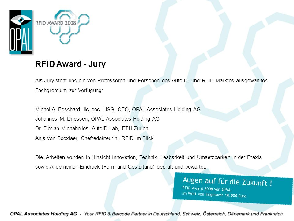 RFID Award - Jury Augen auf für die Zukunft !