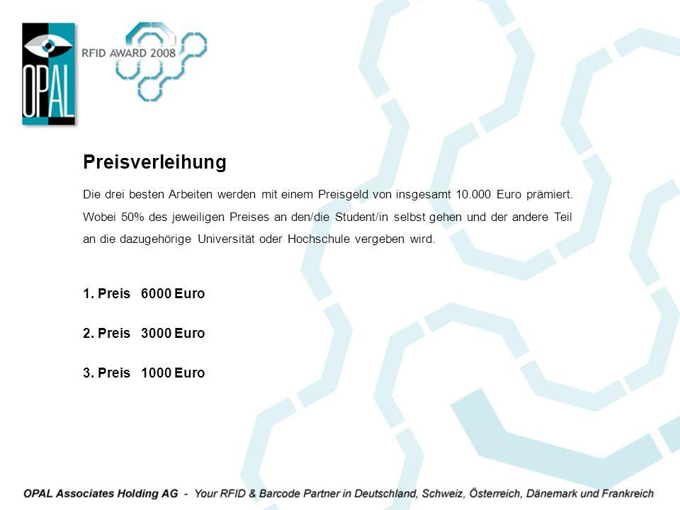 Preisverleihung 1. Preis 6000 Euro 2. Preis 3000 Euro