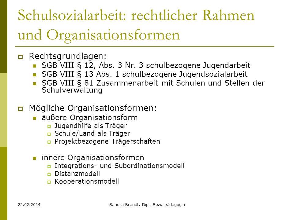 Schulsozialarbeit: rechtlicher Rahmen und Organisationsformen