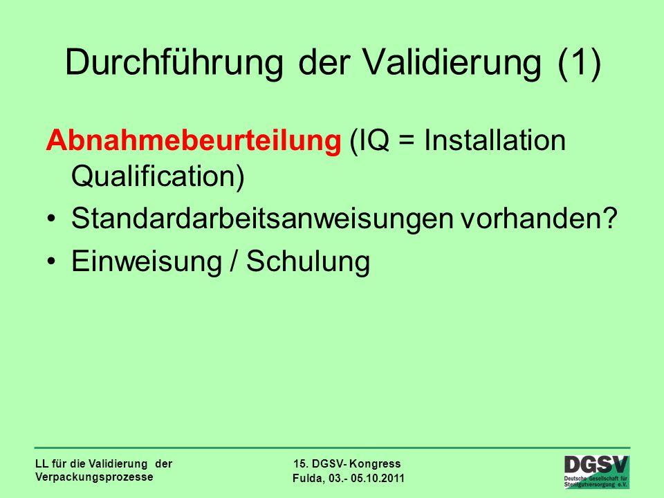 Durchführung der Validierung (1)