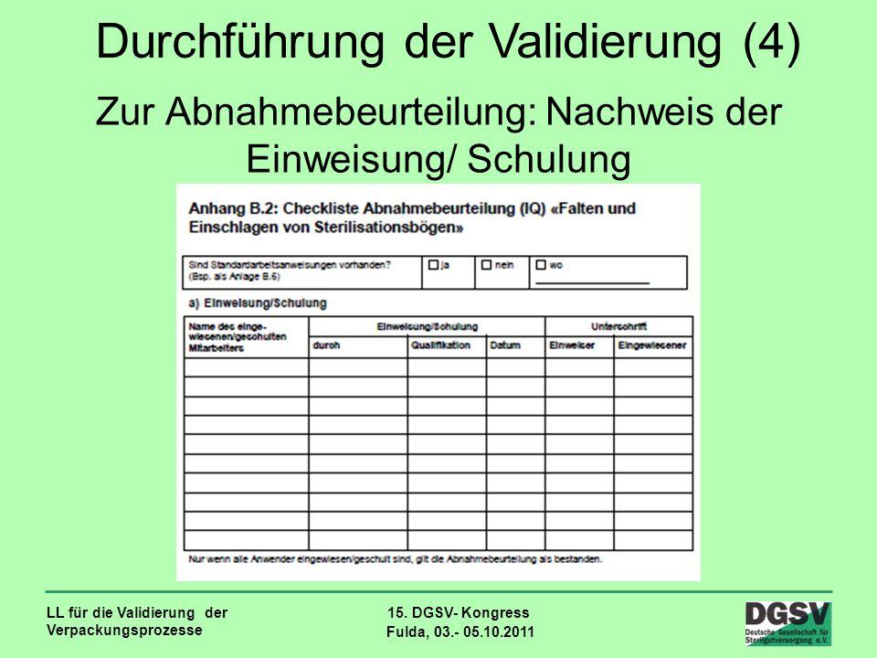 Zur Abnahmebeurteilung: Nachweis der Einweisung/ Schulung