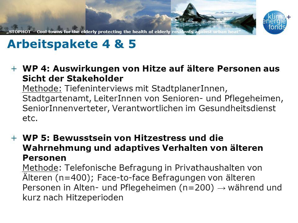 Arbeitspakete 4 & 5 WP 4: Auswirkungen von Hitze auf ältere Personen aus Sicht der Stakeholder.