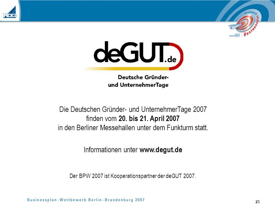Die Deutschen Gründer- und UnternehmerTage 2007 finden vom 20. bis 21