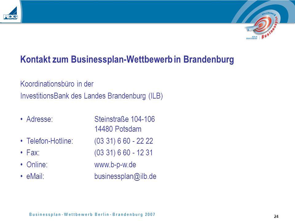 Kontakt zum Businessplan-Wettbewerb in Brandenburg