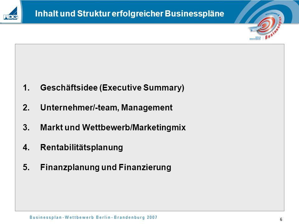 Inhalt und Struktur erfolgreicher Businesspläne