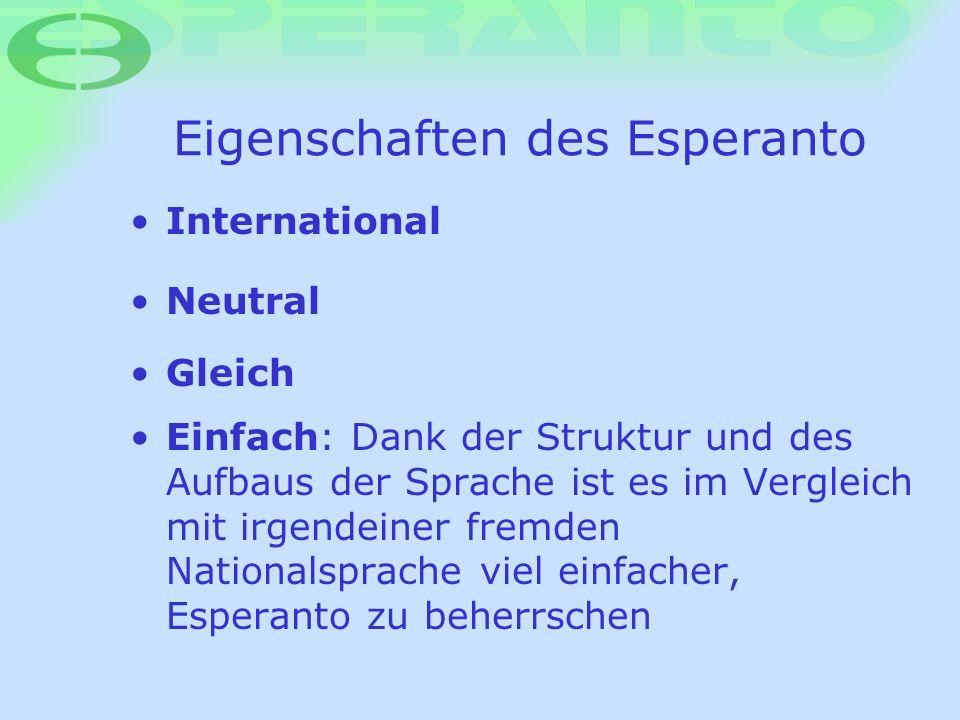 Eigenschaften des Esperanto