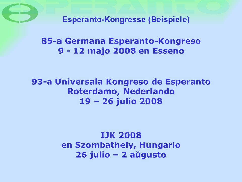 Esperanto-Kongresse (Beispiele)