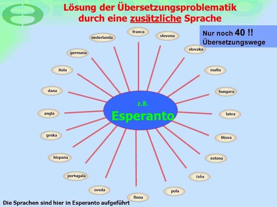 Lösung der Übersetzungsproblematik durch eine zusätzliche Sprache