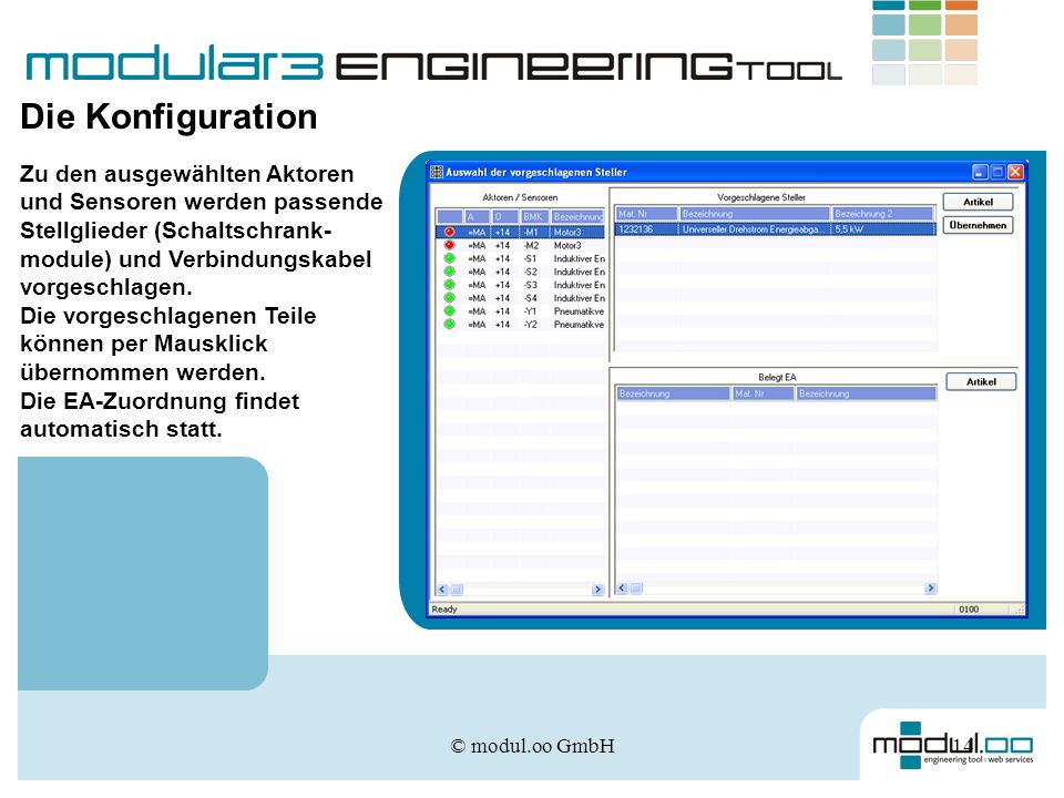 Die Konfiguration Zu den ausgewählten Aktoren und Sensoren werden passende Stellglieder (Schaltschrank-module) und Verbindungskabel vorgeschlagen.