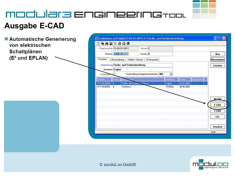 Ausgabe E-CAD Automatische Generierung von elektrischen Schaltplänen (E³ und EPLAN) © modul.oo GmbH