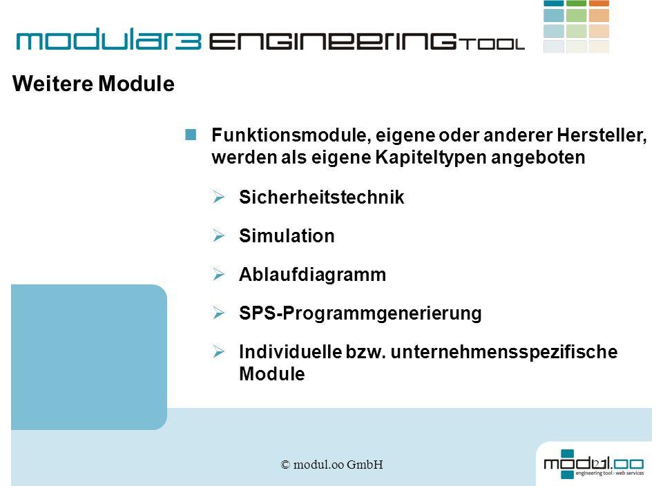 Weitere Module Funktionsmodule, eigene oder anderer Hersteller, werden als eigene Kapiteltypen angeboten.