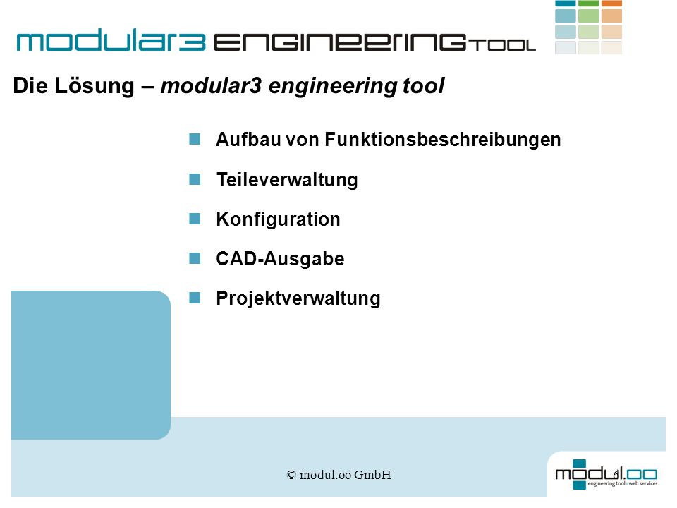Die Lösung – modular3 engineering tool