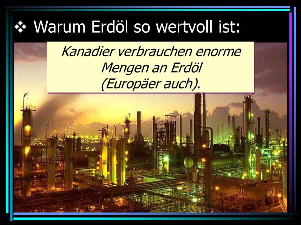 Kanadier verbrauchen enorme Mengen an Erdöl (Europäer auch).