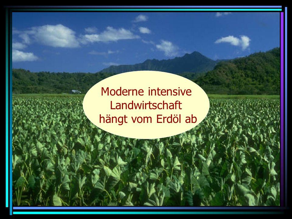 Moderne intensive Landwirtschaft hängt vom Erdöl ab