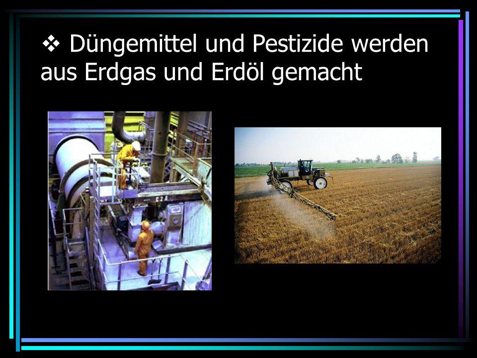 Düngemittel und Pestizide werden aus Erdgas und Erdöl gemacht