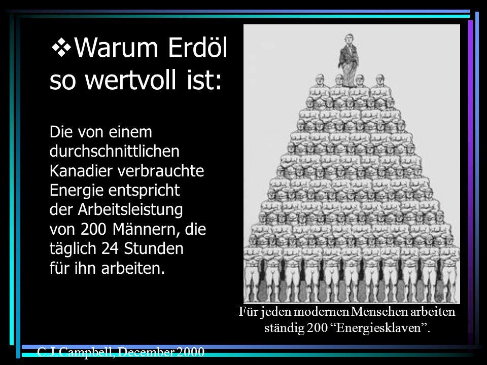Für jeden modernen Menschen arbeiten ständig 200 Energiesklaven .